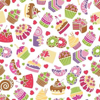 Backen und desserts nahtloser musterhintergrund. essen und sahne, süßes design, geburtstagsdekoration, vektorillustration