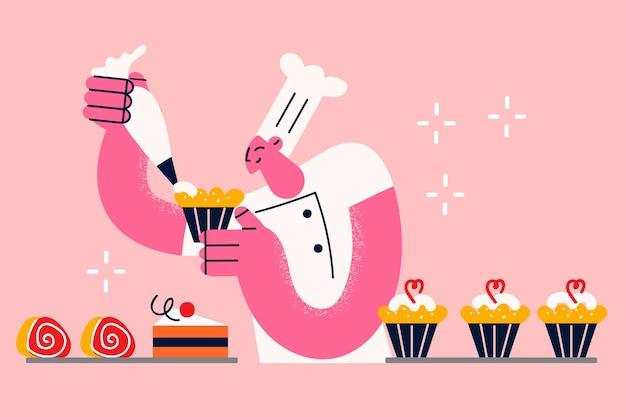 Backen von süßigkeiten und cupcakes-konzept. junger menschlicher bäcker in weißer uniform und hut, der cupcakes und kuchen backt, die sahne zur süßigkeitenvektorillustration hinzufügen