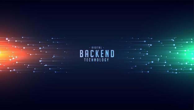 Backend-technologiekonzept mit hintergrund mit leuchtenden linien