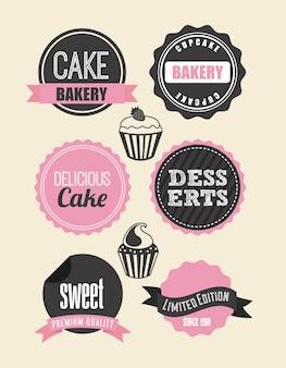 Bäckereientwurf über weißer Hintergrundvektorillustration