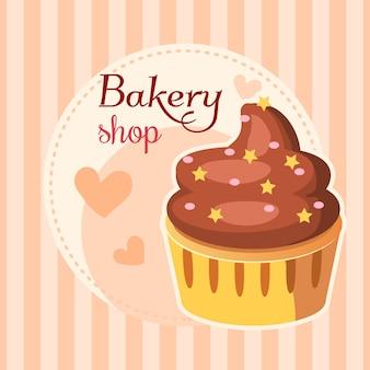Bäckereikuchen mit Schlagsahne-Hintergrund