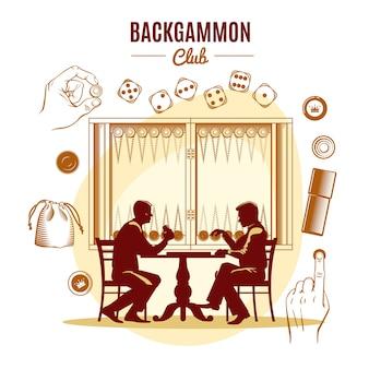 Backgammon club vintage illustration style