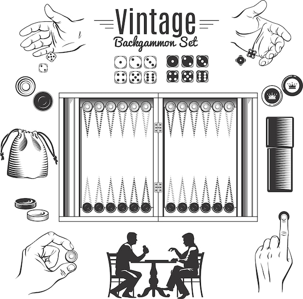 Backgammon vintage style elements set