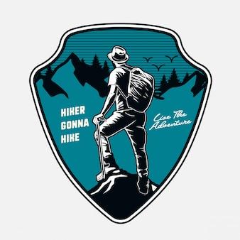 Backpacker-abenteuer-emblem