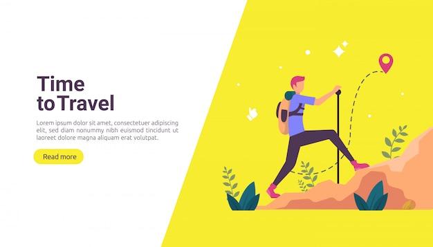 Backpacker-reise-abenteuer-konzept. outdoor-urlaub thema wandern, klettern und trekking