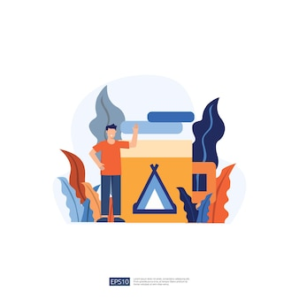 Backpacker und campingurlaub illustration ohne gesicht junger mann charakter. männliche leute stehen mit gestikulieren. flache art lokalisierte vektorillustration