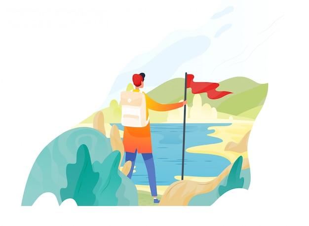 Backpacker, wanderer, reisender oder entdecker stehend, rote fahne haltend und natur betrachtend. wandern, rucksackwandern, abenteuertourismus und reisen, entdeckung neuer horizonte. flache illustration.