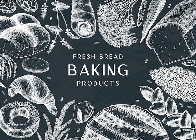 Backrahmen auf tafel. mit kuchen, brot, gebäck, keksen, brownies handzeichnungen. ideal für bäckerei, verpackung, menü, etikett, rezept, lebensmittellieferung.