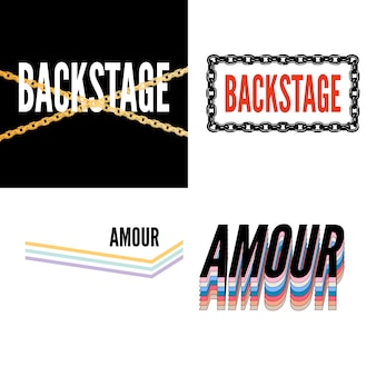 Backstage amour slogan moderner fashion slogan für t-shirt grafikdruck