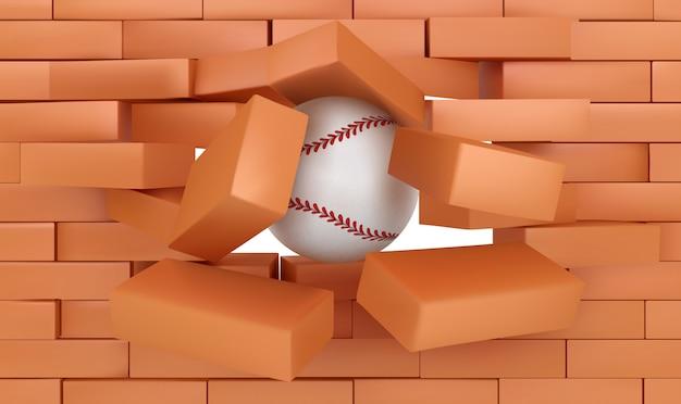 Backsteinmauer, die mit baseballball, sport zerstört