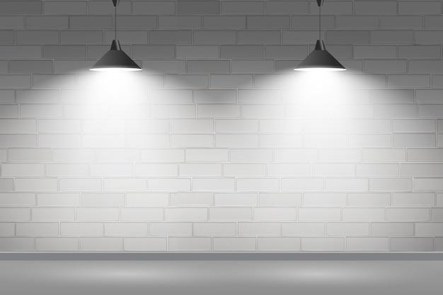 Backsteinmauer mit scheinwerferhintergrundkonzept