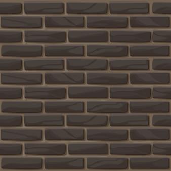 Backsteinmauer textur nahtlos. illustrationssteinwand in schwarzer farbe. dunkler backsteinmauerhintergrund