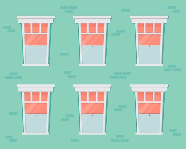 Backsteinmauer und fenster mit weißem rahmen. wohnhausfassade. karikaturillustration der hausfront mit offenen und geschlossenen glasfenstern mit vorhängen und jalousie innen