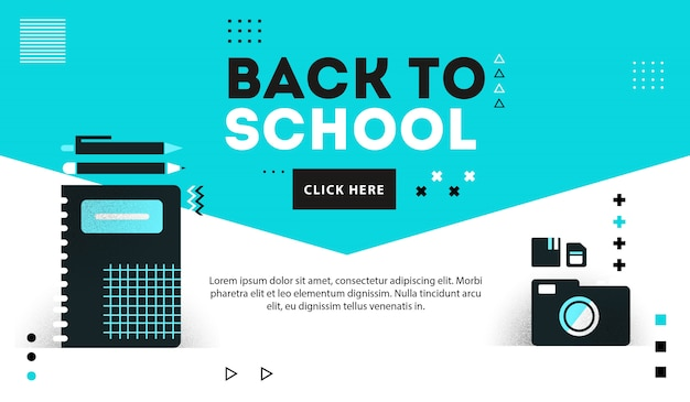 Backto school suplies banner