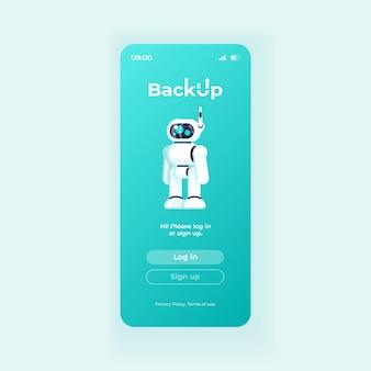 Backup-anwendung smartphone-schnittstellenvektorvorlage. lichtdesign-layout für mobile app-seiten. bildschirm der cloud-speichersoftware. flache benutzeroberfläche für die anwendung. anmelden und anmelden schaltflächen auf dem telefondisplay.