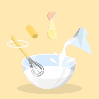 Backzutaten für pfannkuchen in einer schüssel. milch, ei und butter für den teig mischen. hausgemachtes essen. illustration