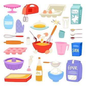 Backzutaten lebensmittel und küchengeschirr zum backen