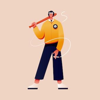 Bad boy charakter flache illustration