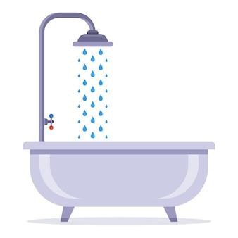 Bad mit wasserhahn. unter der dusche waschen. flache vektorillustration.