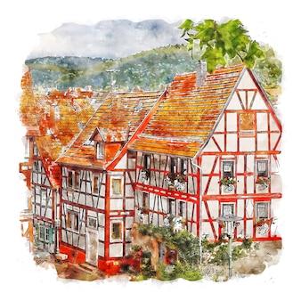 Bad orb deutschland aquarellskizze handgezeichnete illustration