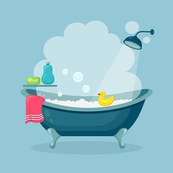 Bad voller schaum mit blasen lokalisiert auf hintergrund. badezimmer interieur. duscharmaturen, seife, badewanne, gummiente und rosa handtuch. komfortable ausrüstung zum baden und entspannen. flaches design