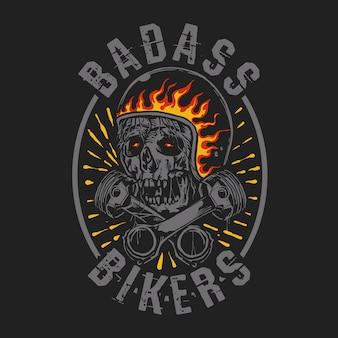 Badass bikers motorkopf illustration
