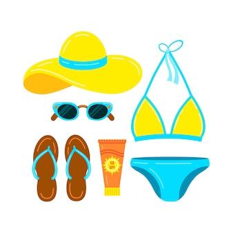 Badeanzug hausschuhe hut sonnenbrille und sonnencreme vektor icon set isoliert auf weißem hintergrund