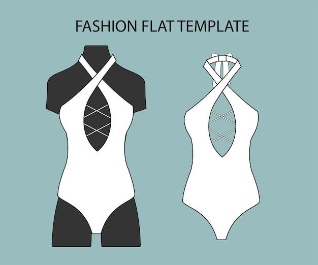 Badeanzug mode flache skizze vorlage bikini isoliert