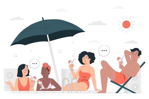 Badeanzug-partykonzeptillustration