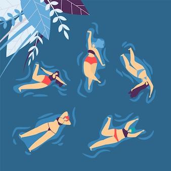 Badeanzug-schwimmen-entspannende wasser-frauen-freizeit