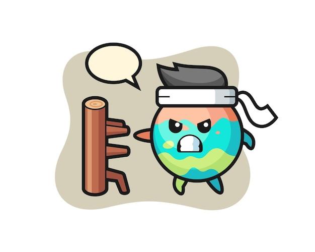 Badebomben-cartoon-illustration als karate-kämpfer, süßes stildesign für t-shirt, aufkleber, logo-element
