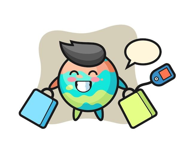 Badebomben-maskottchen-cartoon, der eine einkaufstasche hält, niedliches design für t-shirt, aufkleber, logo-element
