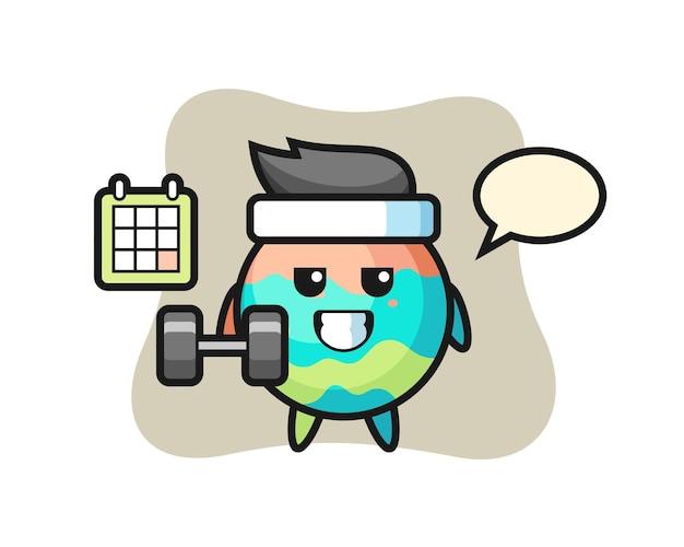 Badebomben-maskottchen-karikatur, die fitness mit hantel macht, niedliches design für t-shirt, aufkleber, logo-element
