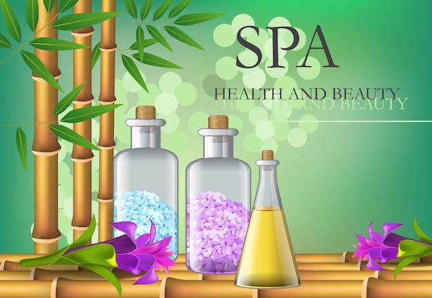 Badekurort-, gesundheits- und schönheitsbeschriftung mit bambus und flaschen