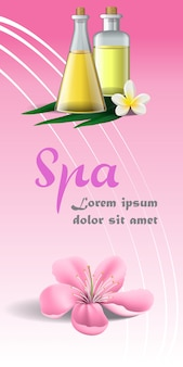 Badekurortbroschüre mit rosa blüte, weißer tropischer blume und massageöl