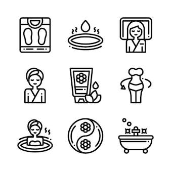 Badekurortmassagetherapie-kosmetikikonen. illustration.