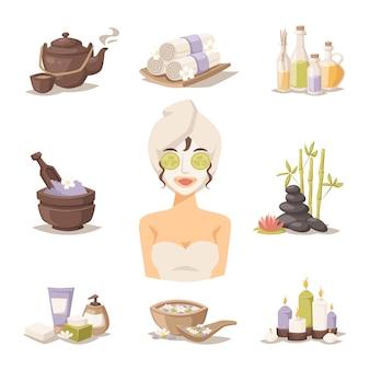 Badekurortschönheitskörperpflege-vektorelemente und -frau in der maske