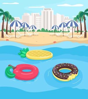 Badeort und pool schweben flache farbabbildung. apfel und ananas schwimmen. leerer stadtstrand. sommererholungs-2d-karikaturlandschaft mit stadtbild auf hintergrund