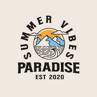 Badeorturlaub mit berg lineart illustration. lineart palmen auf strandabzeichen logo illustration