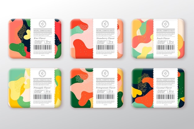 Badepflege kosmetikboxen set. vektor verpackte container label cover collection. verpackung mit handgezogenen mandeln, haselnüssen, cashewnüssen, pistazien. abstraktes camo-hintergrund-muster-layout. isoliert.