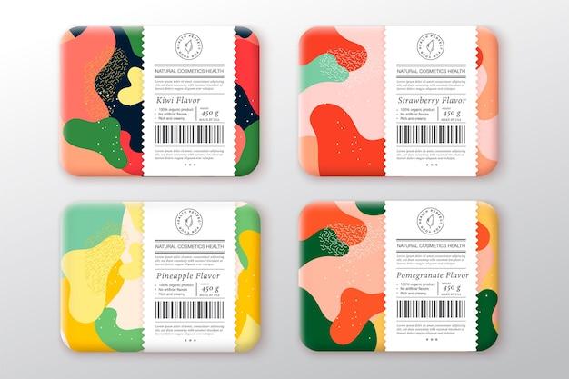 Badepflege kosmetikboxen set verpackung mit handgezeichneten mandel haselnuss cashew pistazien