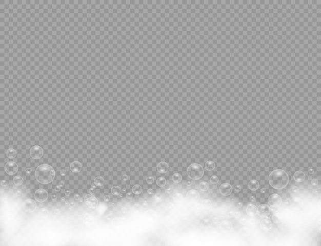 Badeschaum mit shampoo-blasen lokalisiert auf einem transparenten hintergrund. schaummousse mit blasen.