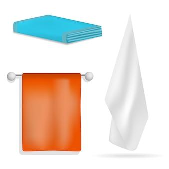 Badetuch-satz des badetuches hängender. realistische abbildung von 4 hängenden whirlpoolmodellen des tuches für netz