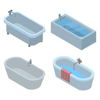 Badewanne-icon-set. isometrischer satz badewannenvektorikonen für das webdesign lokalisiert auf weißem hintergrund