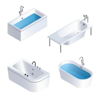 Badewanne-icon-set. isometrischer satz badewannenvektorikonen