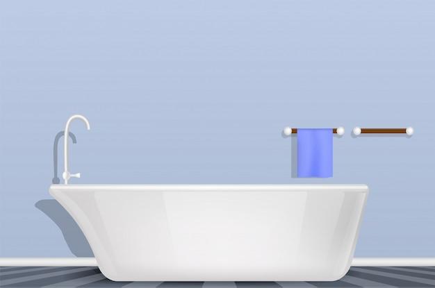Badewanne im badezimmerkonzept, realistische art