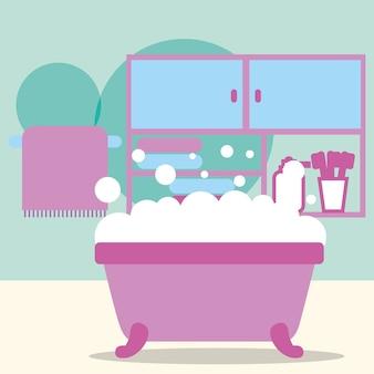 Badewanne schaum möbel zahnbürsten und handtuch badezimmer