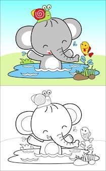 Badezeit mit netten elefanten cartoon und freunden