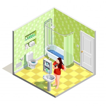 Badezimmer basteln isometrische zusammensetzung
