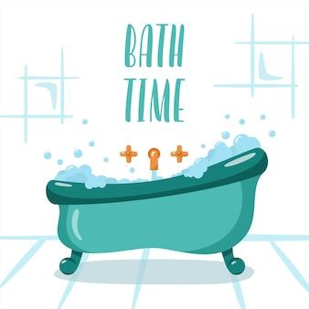 Badezimmer im flachen stil bath time zeichen badetab mit schaum und seifenblasen vector